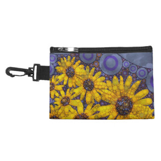Beautiful Blue Yellow Sunflowers Abstract Accessory Bags