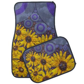 Beautiful Blue Yellow Sunflowers Abstract Car Mat