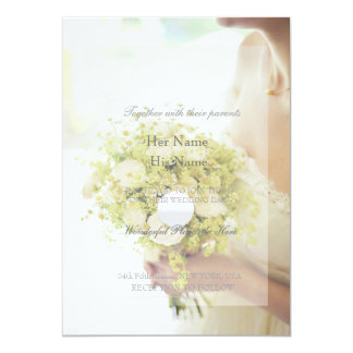 Beautiful Bride with Flower Bouquet Wedding Card