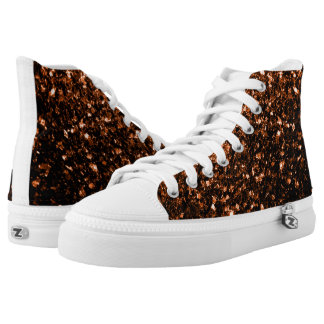 Beautiful Bronze Orange Brown glitters sparkles Printed Shoes