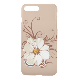 beautiful brown flowers with swirl lines art iPhone 8 plus/7 plus case