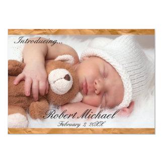 Beautiful Brown Rustic Newborn Boy Announcement