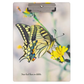 Beautiful Butterfly and Small Yellow Flowers Clipboard