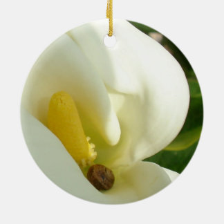 Beautiful Calla Flower On Green Natural Background Christmas Ornament