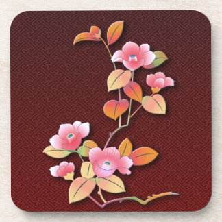 Beautiful camellia branch beverage coasters