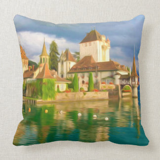 Beautiful castle Oberhofen on the Thun lake, Switz Throw Pillows