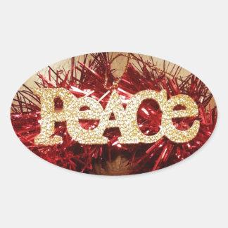 Beautiful Christmas Peace Design Oval Sticker
