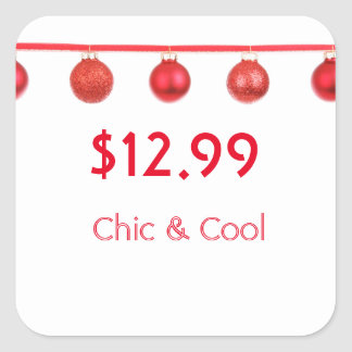 Beautiful Christmas Red Ornaments Price Tag