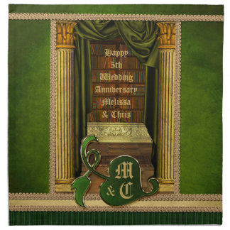 Beautiful Classical Library Old Books Green Drapes Napkin