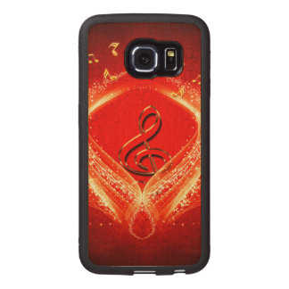 Beautiful clef and key notes wood phone case