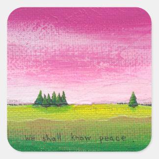 Beautiful colorful landscape painting peaceful art sticker