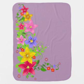 beautiful colorful vector flowers with swirl art pramblanket