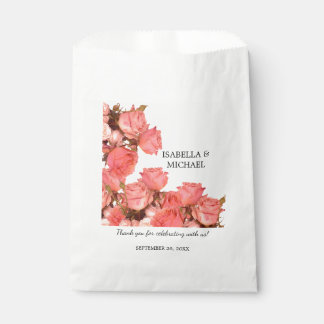 Beautiful Coral Rose Wedding Favour Bags