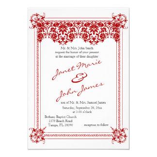 Beautiful Dark Red Damask & White Wedding 13 Cm X 18 Cm Invitation Card