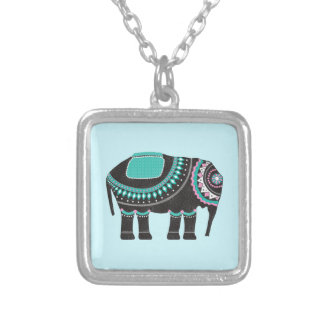 Beautiful Decorative Ornate Elephant, Adorable Silver Plated Necklace