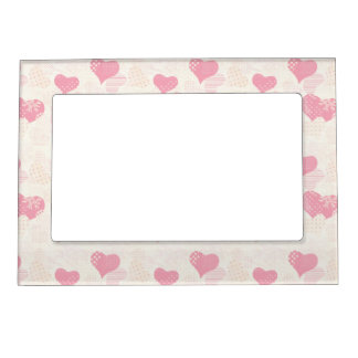 Beautiful Delicate Pastel Color Heart Pattern Magnetic Picture Frame