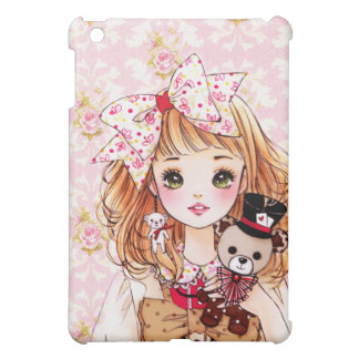 Beautiful doll girl with teddy bear cover for the iPad mini