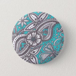 beautiful doodle on turquoise background 6 cm round badge