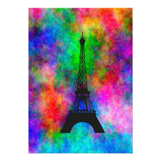 Beautiful Eiffel tower Paris colorful cloth effect Personalized Invitations