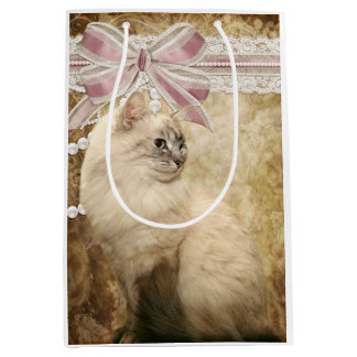 Beautiful elegant kitty cat medium gift bag