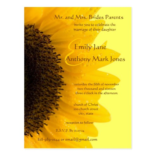 Beautiful Elegant Sunflower Wedding Invitation Postcards