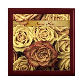 Beautiful Elegant Vintage Yellow Roses with Ribbon Gift Box