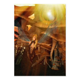 Beautiful elf flying in the sunset 13 cm x 18 cm invitation card