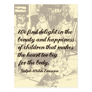 Beautiful Emerson Quote on Children Postcard