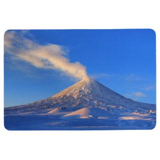 Beautiful eruption volcano at sunrise floor mat