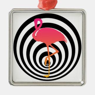 Beautiful flamingo in circles christmas ornament