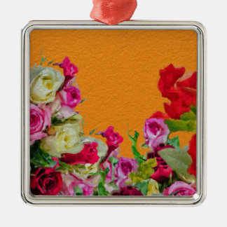Beautiful Floral Abstract Orange Christmas Ornament