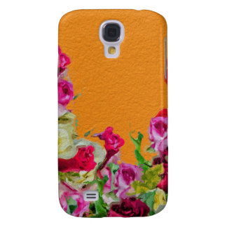 Beautiful Floral Abstract Orange Galaxy S4 Case