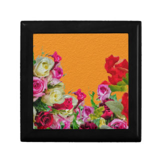 Beautiful Floral Abstract Orange Gift Box