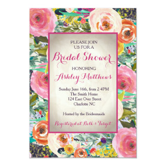 Beautiful Floral Bridal Shower Invitation, Baby Card