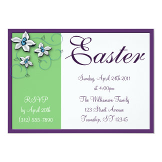 Beautiful Floral Easter Green Holiday Invitations