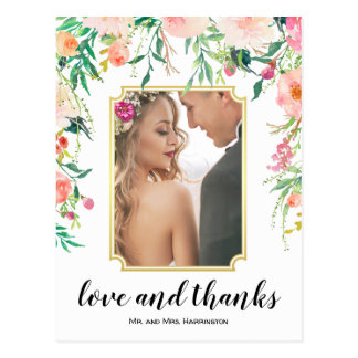 Beautiful Floral Frame Boho Thank You Postcard