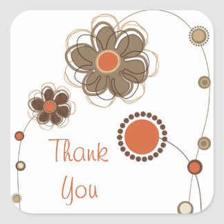 Beautiful Floral Thank You Sticker