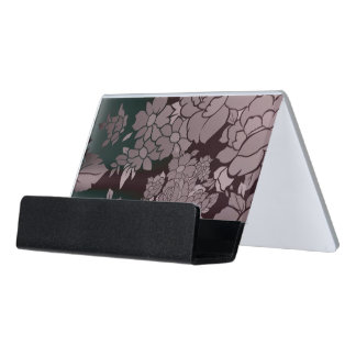 Beautiful Florescent Floral Pattern Desk Business Card Holder