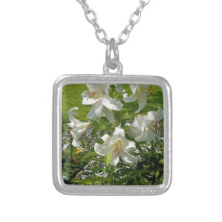 Beautiful Flower Print Silver Plated Necklace