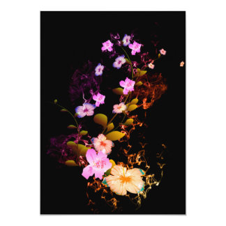 """Beautiful flowers with flames 5"""" x 7"""" invitation card"""