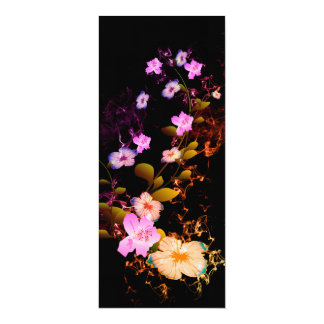 """Beautiful flowers with flames 4"""" x 9.25"""" invitation card"""