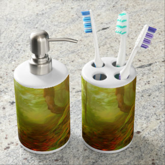 Beautiful forest with fog between trees toothbrush holders