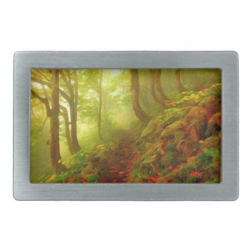 Beautiful forest with fog between trees belt buckle