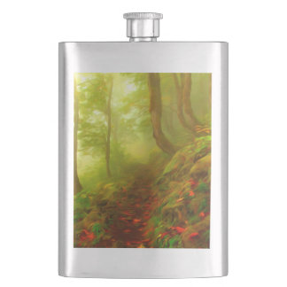 Beautiful forest with fog between trees flasks