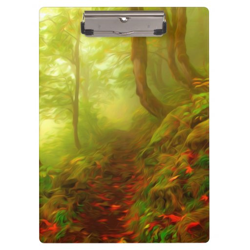 Beautiful forest with fog between trees clipboard