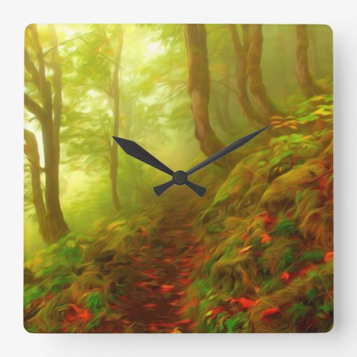 Beautiful forest with fog between trees wallclock