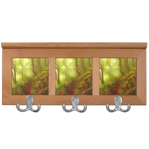 Beautiful forest with fog between trees coat rack