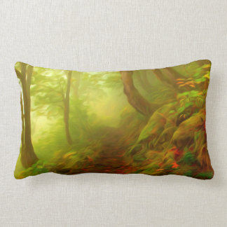 Beautiful forest with fog between trees pillows