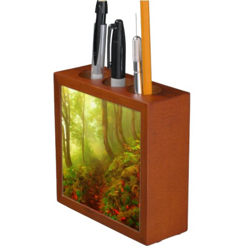 Beautiful forest with fog between trees pencil holder