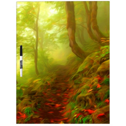 Beautiful forest with fog between trees Dry-Erase whiteboard